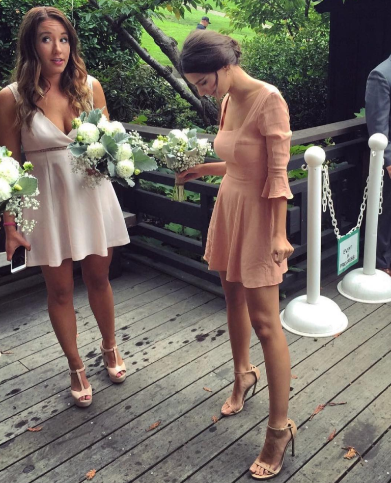 "<p>The actress wore a bell-sleeved mini-dress for her friend's wedding, captioning the photo she <a rel=""nofollow"" href=""https://www.instagram.com/p/BLoo_SNDSSA/?taken-by=emrata&hl=en"">posted to Instagram</a> with a simple: ""Bridesmaids."" If only all bridesmaids dresses could be so on-trend. </p>"