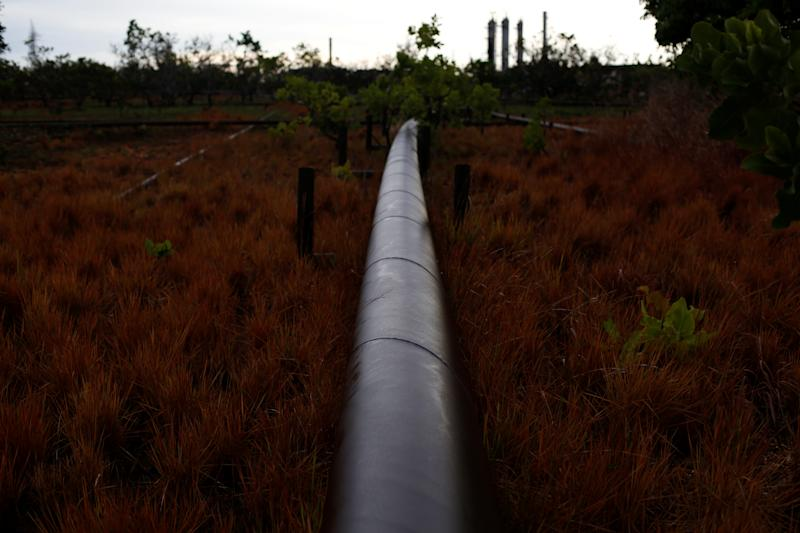 An oil pipeline from a petroleum plant crosses a field on the outskirts in El Tigre, Venezuela, on June 2. (Photo: Ivan Alvarado/Reuters)