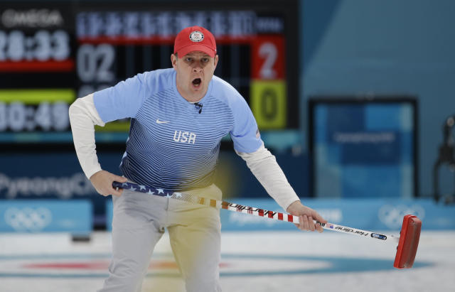 United States's skip John Shuster makes a call during the men's final curling match against Sweden at the 2018 Winter Olympics in Gangneung, South Korea, Saturday, Feb. 24, 2018. (AP Photo/Natacha Pisarenko)