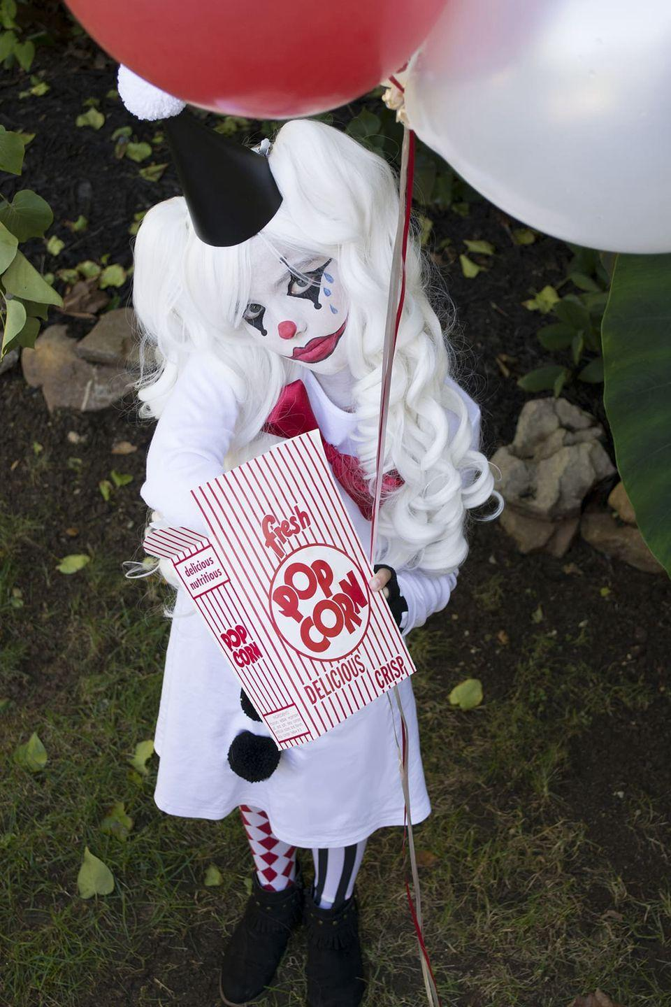 """<p>This spooky costume is anything <em>but</em> sad! Your <a href=""""https://www.countryliving.com/diy-crafts/g21603260/diy-halloween-costumes-for-tweens/"""" rel=""""nofollow noopener"""" target=""""_blank"""" data-ylk=""""slk:tween"""" class=""""link rapid-noclick-resp"""">tween</a> will love this unique and easy costume idea, which calls for a simple white dress or T-shirt and minimal makeup application. </p><p><strong>See more at <a href=""""https://cuckoo4design.com/easy-and-unique-sad-clown-costume/"""" rel=""""nofollow noopener"""" target=""""_blank"""" data-ylk=""""slk:Cuckoo 4 Design"""" class=""""link rapid-noclick-resp"""">Cuckoo 4 Design</a>. </strong> </p>"""