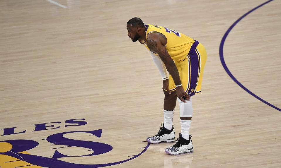 The championship hopes of the Los Angeles Lakers will rest on LeBron James' 37-year-old shoulders. (Kevork Djansezian/Getty Images)