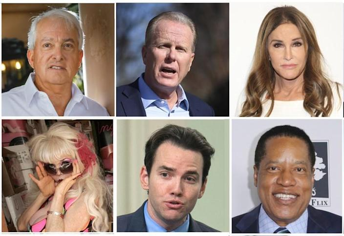 Candidates running to replace Gov. Gavin Newsom in the recall election include, clockwise from top left: businessman John Cox, former San Diego Mayor Kevin Faulconer, Caitlyn Jenner, billboard model Angelyne, Assemblyman Kevin Kiley, and Larry Elder, nationally syndicated conservative radio host.