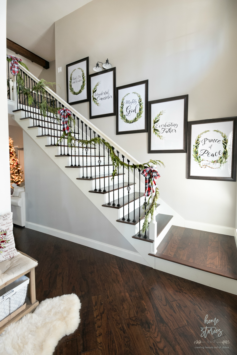 """<p>If you have prints or a gallery wall decorating your stairs year-round, why not swap them all (of just a few) out for something more suitable for the season? </p><p><em>See more at <a href=""""https://www.homestoriesatoz.com/christmas/red-plaid-christmas-home-tour.html"""" rel=""""nofollow noopener"""" target=""""_blank"""" data-ylk=""""slk:Home Stories A to Z"""" class=""""link rapid-noclick-resp"""">Home Stories A to Z</a>.</em></p><p><a class=""""link rapid-noclick-resp"""" href=""""https://go.redirectingat.com?id=74968X1596630&url=https%3A%2F%2Fwww.etsy.com%2Flisting%2F639711728%2Fchristmas-wall-art-christmas-printable&sref=https%3A%2F%2Fwww.oprahmag.com%2Flife%2Fg34479907%2Fchristmas-stair-decorations%2F"""" rel=""""nofollow noopener"""" target=""""_blank"""" data-ylk=""""slk:SHOP PRINTABLE CHRISTMAS ART"""">SHOP PRINTABLE CHRISTMAS ART</a></p>"""