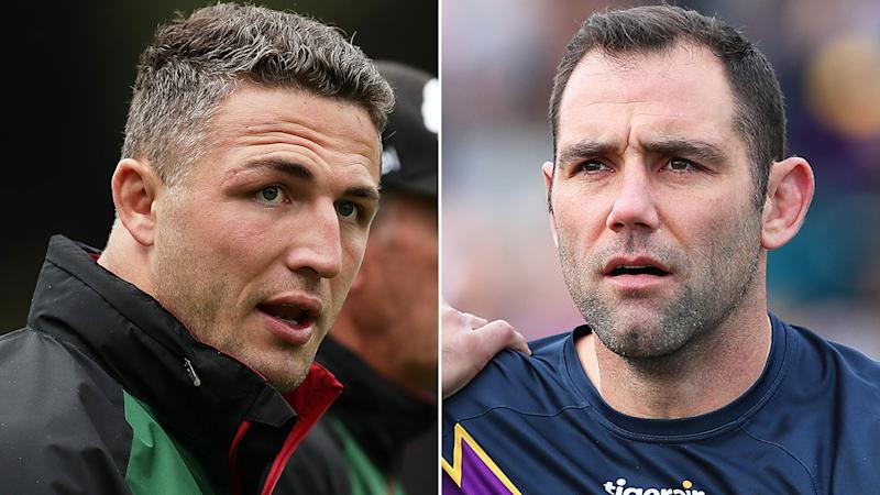 Sam Burgess and Cameron Smith, pictured left and right in a split 50-50 image.