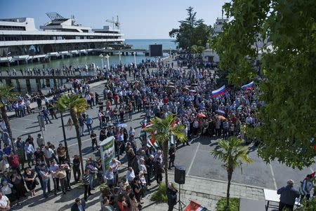 Supporters of Abkhazia's President Alexander Ankvab hold a rally in Sukhumi