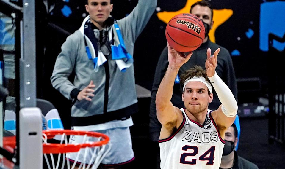 Gonzaga Bulldogs forward Corey Kispert (24) shoots the ball during the second half against the Gonzaga Bulldogs in the national semifinals of the Final Four of the 2021 NCAA Tournament.