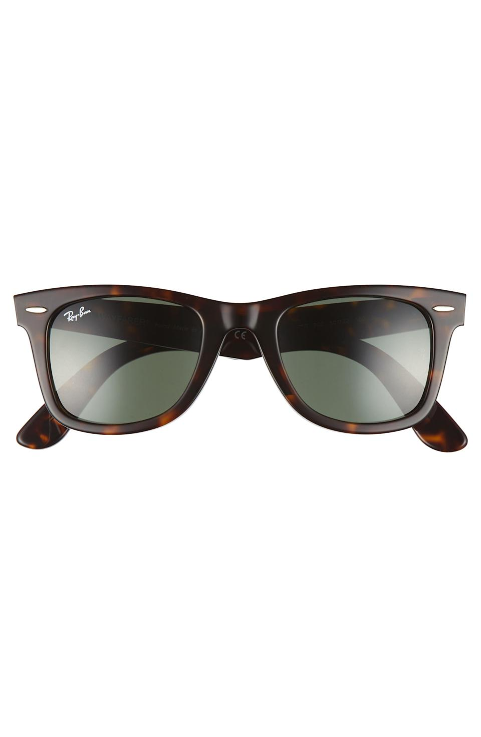 """<p><strong>RAY-BAN</strong></p><p>nordstrom.com</p><p><a href=""""https://go.redirectingat.com?id=74968X1596630&url=https%3A%2F%2Fshop.nordstrom.com%2Fs%2Fray-ban-classic-wayfarer-50mm-sunglasses%2F3290895&sref=https%3A%2F%2Fwww.menshealth.com%2Fstyle%2Fg33510339%2Fnordstrom-anniversary-sale-2020%2F"""" rel=""""nofollow noopener"""" target=""""_blank"""" data-ylk=""""slk:BUY IT HERE"""" class=""""link rapid-noclick-resp"""">BUY IT HERE</a></p><p><del><strong>$154</strong></del> <strong>$99.90 </strong><strong>(35% off)</strong></p><p>You're never fully dressed without a great pair of sunglasses. The classsic style is widely known to be one of the most flattering frames for any guy's face. </p>"""