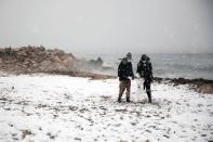 Heavy snowfall in Athens