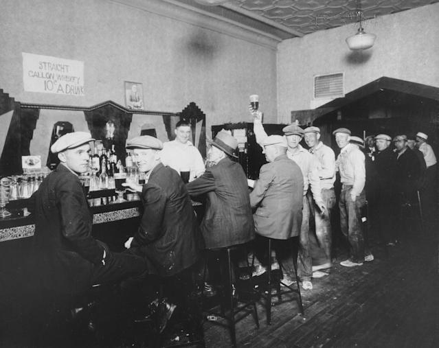 Interior view of Jennings Tavern, located at 5106 South Halsted St. in Chicago, showing a group of men seated and drinking at the bar, circa the 1940s. (Photo: Chicago History Museum/Getty Images)