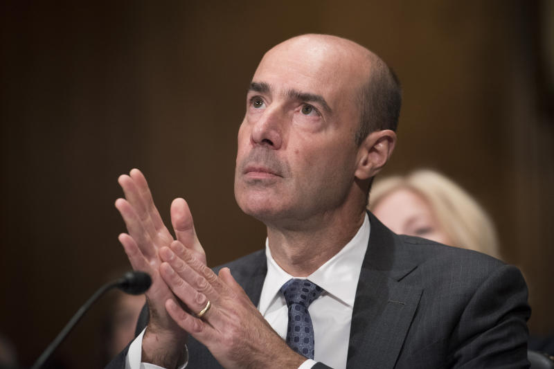 Secretary of Labor nominee Eugene Scalia listens during his nomination hearing on Capitol Hill, in Washington, Thursday, Sept. 19, 2019. (AP Photo/Cliff Owen)