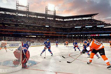 Fans enjoying Alumni game prior to the NHL Winter Classic at Citizens Bank Park in Philadelphia