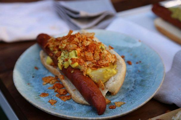 PHOTO: Hot dog topped with potato salad and BBQ chips. (ABC News)