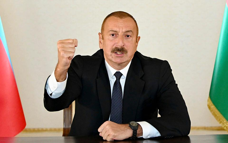 In a televised address to his people, Azerbaijani President Ilham Aliyev vowed victory over the Armenian forces - -/Azerbaijan's Presidential Press Office