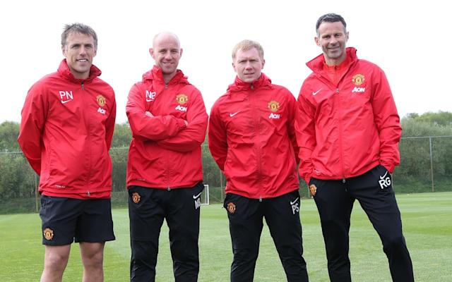 The news that Paul Scholes has held talks with Oldham over the vacant manager's job means the potential addition of a new feather in the cap of the Manchester United Class of 92's managerial prowess. But how have Sir Alex Ferguson's fledglings fared in positions of power? Ryan Giggs Having been appointed a player-coach at Manchester United in July 2013, Giggs then became interim manager when David Moyes was sacked the following April. He achieved a record of two wins, a draw and a defeat in the final four games of the 2013–14 season. Giggs was then appointed as Louis van Gaal's assistant manager when the Dutchman took charge for the following season but - despite many suggesting he would be a potential successor at the helm - he left the club when Jose Mourinho was announced as the new manager in July 2016. He has since been linked with a host of managerial roles, but has yet to make his next move. Paul Scholes Scholes held a coaching role at United for six months after his initial retirement in 2011, but he has largely steered clear of the dugout since reversing that decision and calling time on his playing career for a second time in 2013. He held a coaching position at United under Moyes and assisted Giggs during the Welshman's four-game spell as interim manager, but his only managerial stint came in January 2015 when he acted as Salford City caretaker manager alongside Phil Neville for their match against Kendal Town. Salford City won 2-1, giving Scholes a 100 per cent managerial winning record. Scholes been linked with different managerial roles since leaving Manchester United Credit: Action Images Nicky Butt Having retired from playing in 2011, Butt returned to Manchester United the following year as a reserve team coach. He was another Class of 92 alumnus who assisted Giggs during the Welshman's brief tenure as interim United manager in 2014 and has held the role of head of academy since November 2016. Gary Neville The bulk of Gary Neville's coaching experien