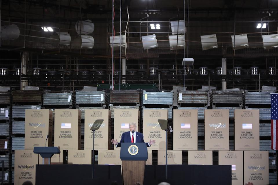 CLYDE, OHIO - AUGUST 06: U.S. President Donald Trump speaks to workers at a Whirlpool manufacturing facility on August 06, 2020 in Clyde, Ohio. Whirlpool is the last remaining major appliance company headquartered in the United States. With more than 3,000 employees, the Clyde facility is one of the world's largest home washing machine plants, producing more than 20,000 machines a day. (Photo by Scott Olson/Getty Images)