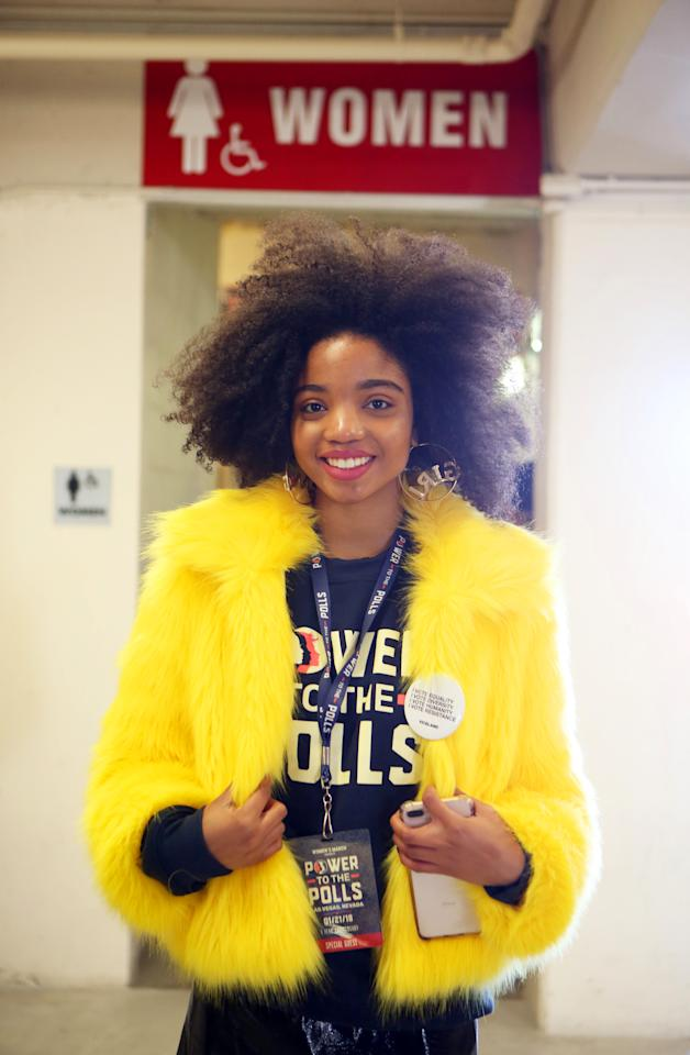 "<p>Winter Minisee, 17, of Los Angeles, who is part of the Women's March Youth Initiative, was inspired to get involved when she heard a co-founder of the march speak last year. It earned her a scholarship to the 2017 Women's Convention. ""Now I do outreach and give out Empower tool kits to other youth,"" she tells Yahoo Lifestyle. ""Some of my peers are involved in the Women's March, but I'm the only one on an actual outreach team."" (Photo: Ronda Churchill for Yahoo Lifestyle) </p>"
