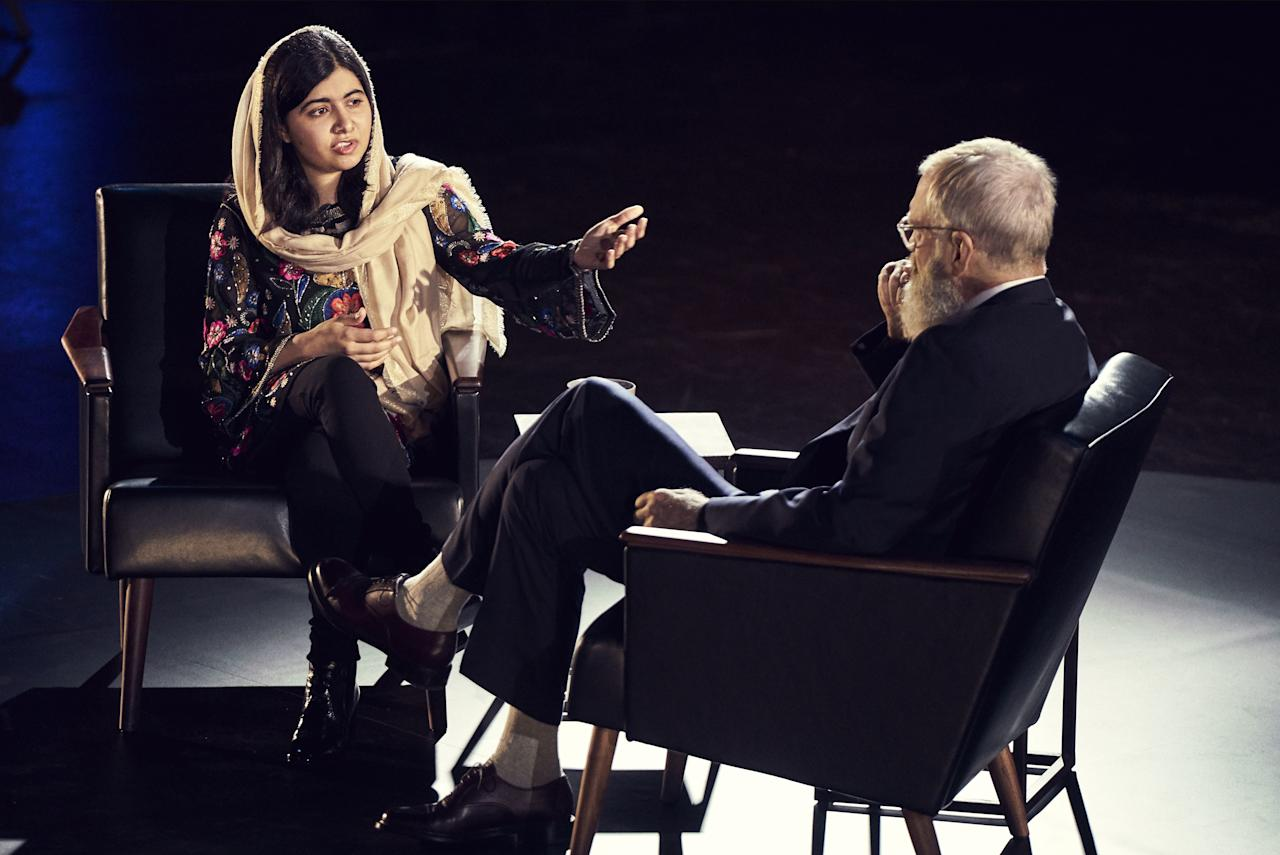 Activist and Oxford student Malala Yousafzai joins David Letterman as his third guest on his Netflix special, My Next Guest Needs No Introduction, to talk about life.
