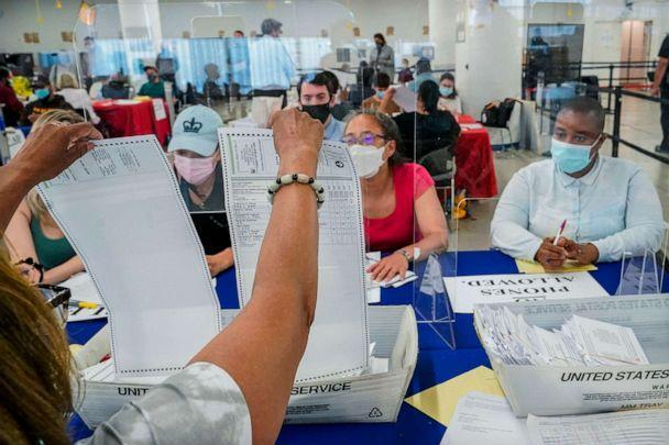A New York City Board of Election staff member, left, shows a ballot to a campaign observer as primary election absentee ballots are counted in New York on July 2, 2021.  (Mary Altaffer/AP)