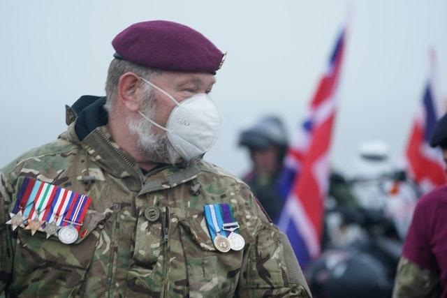 A veteran during a Remembrance Sunday ceremony at the Tommy statue on Terrace Green in Seaham, County Durham