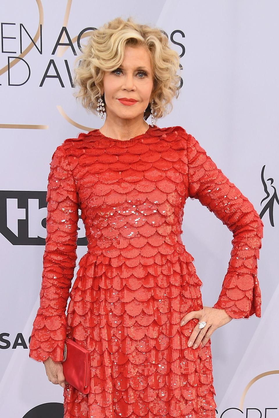 "<p>Actress Jane Fonda, 81, wishes she hadn't gone under the knife but admitted that she basically ""bought a decade"" in a 2015 interview with <a href=""https://www.theguardian.com/film/2015/may/21/jane-fonda-youth-plastic-surgery-sex-cannes"" rel=""nofollow noopener"" target=""_blank"" data-ylk=""slk:The Guardian"" class=""link rapid-noclick-resp""><em>The Guardian</em></a>. <em>[Photo: Getty]</em> </p>"
