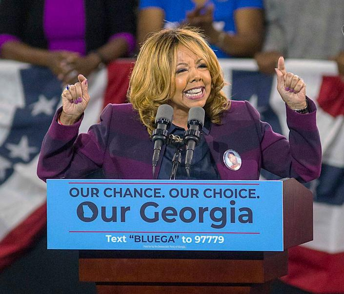 Lucy McBath speaks during a rally for Democratic gubernatorial candidate Stacey Abrams at Morehouse College in Atlanta on Nov. 2.McBathbeat Republican incumbent Karen Handel in a tight race in Georgia's 6th Congressional District. (Photo: Associated Press)