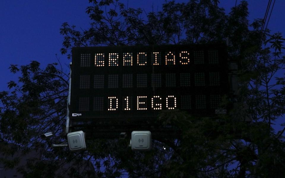 A view of a traffic sign written 'Thank you Diego'