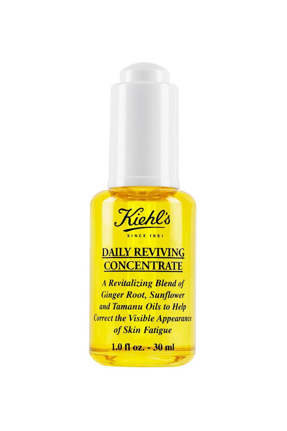 "<p>Our very own beauty editor Lauren Valenti swears by the ginger root, sunflower, and tamanu blend<span>, which promises (and delivers on) erasing signs of skin fatigue. </span></p><p>$72, <a href=""http://www.kiehls.com/daily-reviving-concentrate/KHL497.html?cgid=face-serums&dwvar_KHL497_size=1.0%20fl.%20oz.#start=5&cgid=face-serums"" rel=""nofollow noopener"" target=""_blank"" data-ylk=""slk:kiehls.com"" class=""link rapid-noclick-resp"">kiehls.com</a>.</p>"