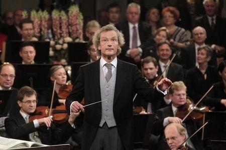 Maestro Welser-Moest conducts the Vienna Philharmonic Orchestra during the traditional New Year's Concert in the Golden Hall of the Vienna Musikverein in Vienna