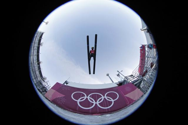 Nordic Combined Events - Pyeongchang 2018 Winter Olympics - Team LH Training - Alpensia Ski Jumping Centre - Pyeongchang, South Korea - February 21, 2018 - Jason Lamy Chappuis of France trains. Picture taken with a fisheye lens. REUTERS/Jorge Silva