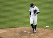 New York Yankees starting pitcher Corey Kluber reacts as the manager heads to the mound to take him out of the baseball game during the sixth inning against the Washington Nationals, Saturday, May 8, 2021, at Yankee Stadium in New York. (AP Photo/Bill Kostroun)