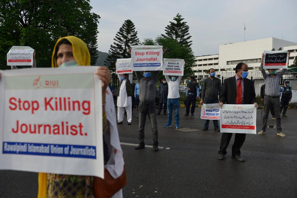 <p>Journalists protest against assaults on the press during the coronavirus lockdown in Pakistan. The country has slipped three places in the World Press Freedom Index</p> (Getty)