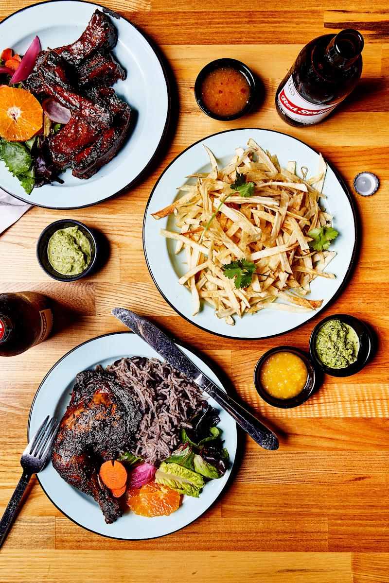 The spreads at Isla Vida draw on foster's love for Afro-Caribbean cooking and feature sticky-sweet barbecue ribs and juicy, crispy-skinned chicken quarters.