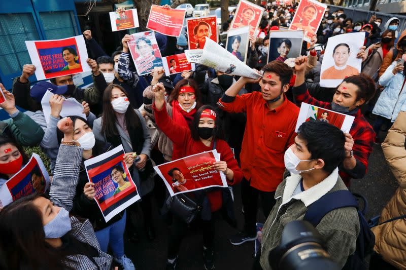 Protesters from Myanmar residing in Japan rally against Myanmar's military, in Tokyo