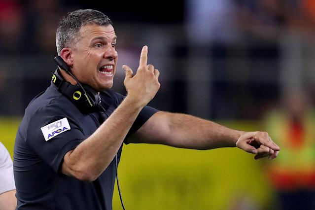 Oregon head coach Mario Cristobal's poor clock management cost the Ducks dearly against Auburn on Saturday at AT&T Stadium in Arlington, Texas. (Photo by Tom Pennington/Getty Images)