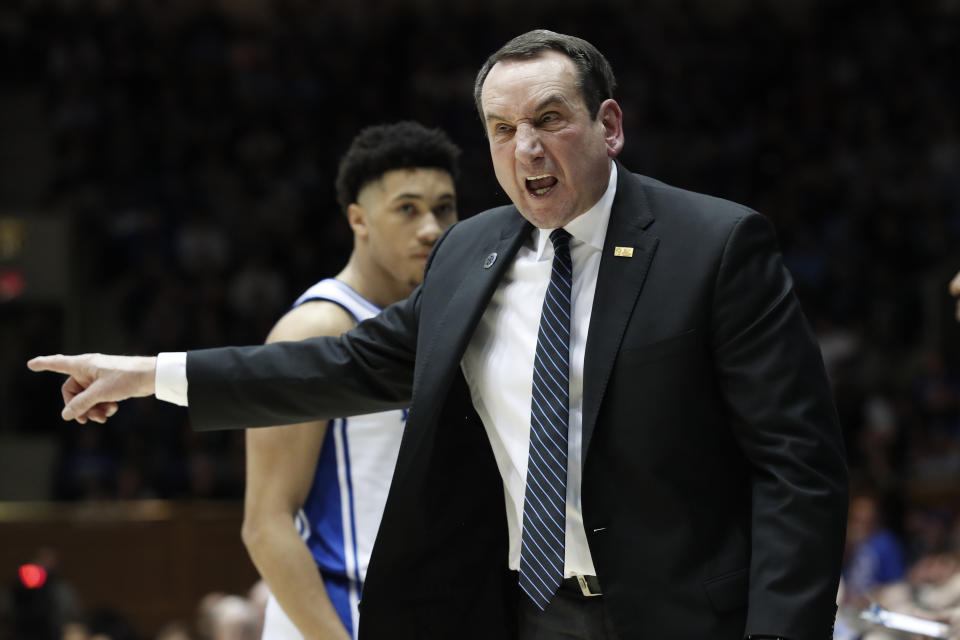Duke head coach Mike Krzyzewski reacts to an official during the second half of an NCAA college basketball game against North Carolina in Durham, N.C., Saturday, March 7, 2020. (AP Photo/Gerry Broome)