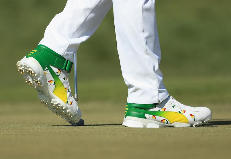 Padron designed these Puma high-top shoes for Rickie Fowler to honor The King at the 2018 Arnold Palmer Invitational.
