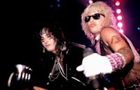 <p>Sixx and Neil performing onstage in Connecticut in 1985. </p>