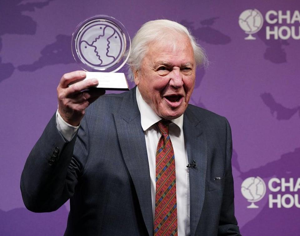 Sir David Attenborough is presented with a Chatham House Centenary Lifetime Award (Yui Mok/PA) (PA Wire)