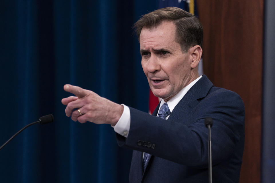 Pentagon spokesman John Kirby speaks during a media briefing at the Pentagon, Wednesday, Feb. 17, 2021, in Washington. (AP Photo/Alex Brandon)