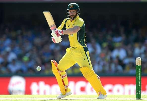 BRISBANE, AUSTRALIA - JANUARY 13: Matthew Wade of Australia plays a shot during game one of the One Day International series between Australia and Pakistan at The Gabba on January 13, 2017 in Brisbane, Australia. (Photo by Bradley Kanaris/Getty Images)