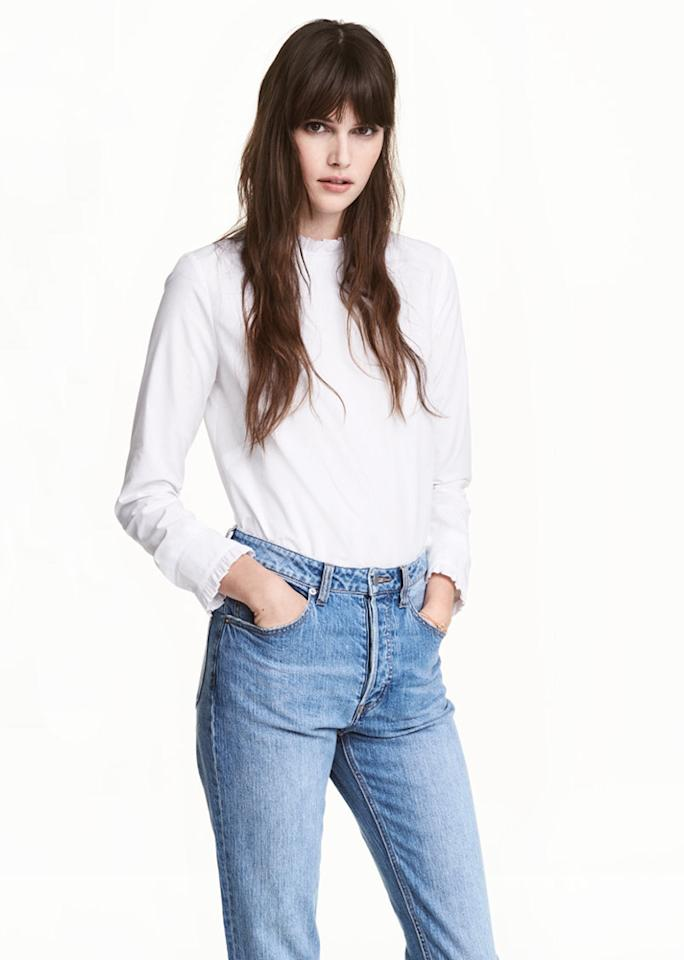 """H&M Ruffled Cotton Blouse, $17.99; at <a rel=""""nofollow"""" href=""""http://www.hm.com/us/product/61186?article=61186-A"""">H&M</a>"""