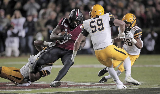 South Carolina's Bryan Edwards records a first-half catch against Appalachian State during an NCAA college football game Saturday, Nov. 9, 2019, in Columbia, S.C. (Dwayne McLemore/The State via AP)