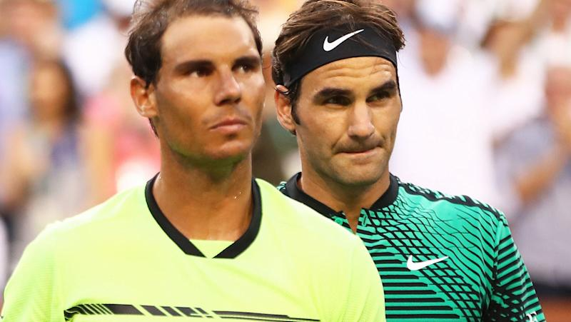 Rafael Nadal and Roger Federer, pictured here at the Miami Open in 2017.