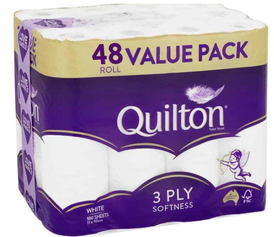 large pack of Quilton toilet paper