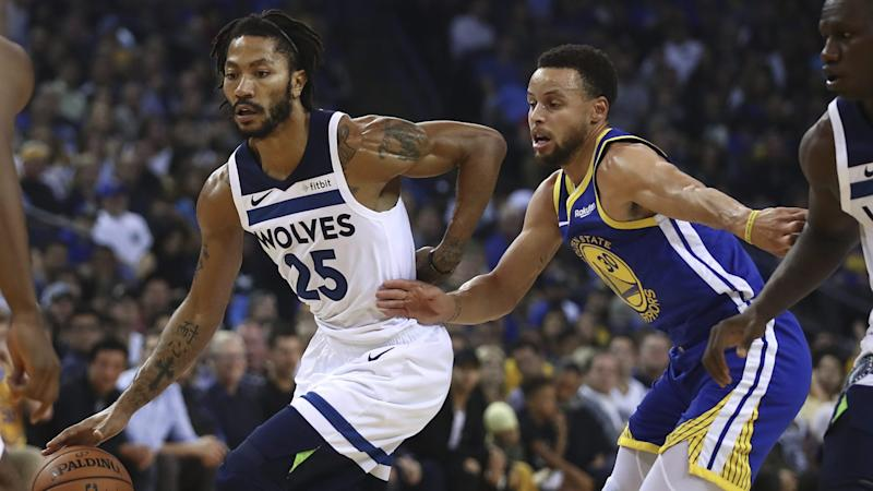 00059547e Derrick Rose remains tight with Stephen Curry for top West guard in All-Star  voting