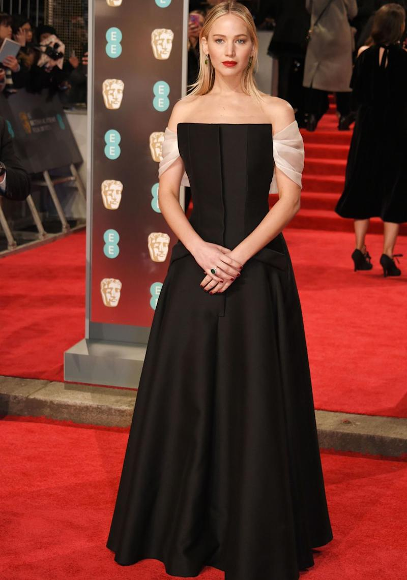 Jennifer Lawrence also wore black. Source: Getty