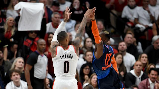Dennis Schroder's antics in Game 3 riled Damian Lillard, who got revenge over the Oklahoma City Thunder in the NBA playoffs on Tuesday.