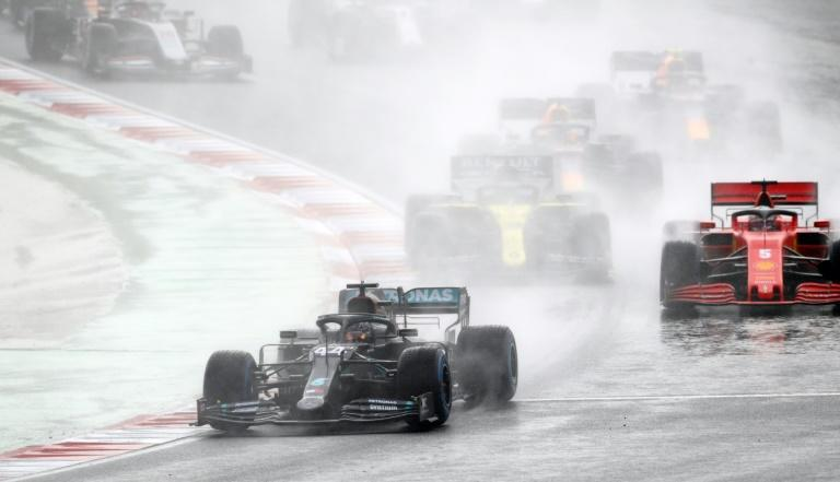Hamilton battled to the front of the field in wet and treacherous conditions in Istanbul