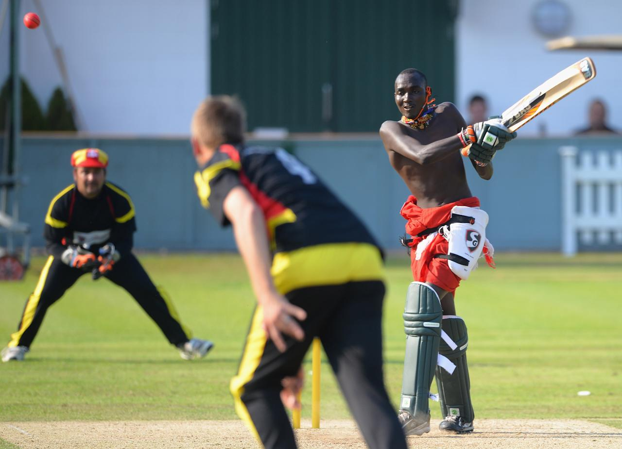 LONDON, ENGLAND - SEPTEMBER 04:  The Maasai Warriors Cricket Team in action during a charity match at the Last Man Standing Finals at Lords on September 4, 2013 in London, England.  (Photo by Christopher Lee/Getty Images)