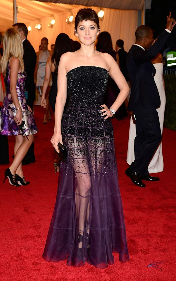 """This year's """"Rust and Bone"""" nominee, Marion Cotillard, wowed at the 2012 Met Gala in a Dior gown that showed some leg."""